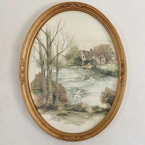 Vintage English Tudor Countryside Oval Frame Print
